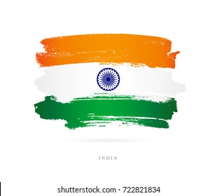 Flag of India. Vector illustration on white background. Beautiful brush strokes. Abstract concept. Elements for design