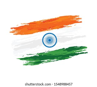Flag of India, watercolor on white background. Vector illustration