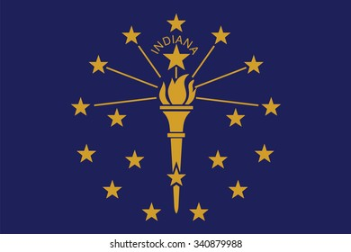 Flag of Indiana state of the United States. Vector illustration.