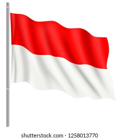 Flag of Indonesia with flag pole waving in wind. Vector illustration