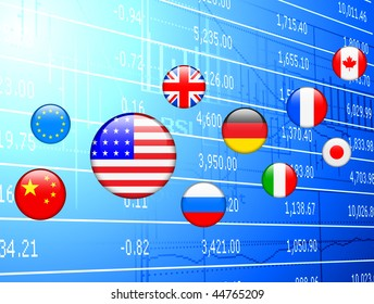 Flag Internet Buttons on Financial Background Original Vector Illustration