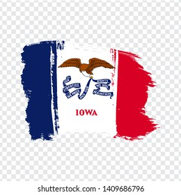 Flag of Iowa from brush strokes. United States of America. Flag Iowa on transparent background for your web site design, logo, app, UI. Stock vector. EPS10.