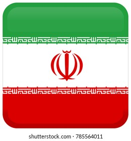 Flag of Iran. Abstract concept, icon, square, button. Vector illustration on white background.