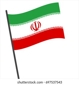Flag of Iran , Iran flag waving isolated vector illustration