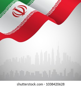 Flag of Iran waving on a skyline background for your text. 3D Rendering. Vector Illustration EPS10.