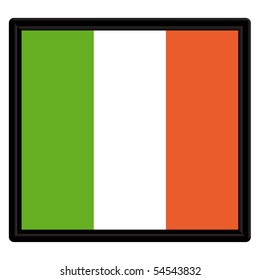 Flag of Ireland with a black frame