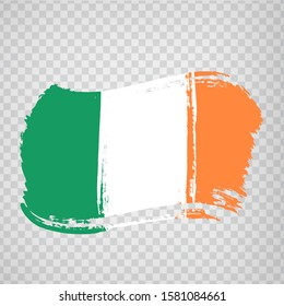 Flag  Ireland from brush strokes.  Flag  of  Ireland on  transparent background for your web site design, logo, app, UI. Europe. Vector illustration EPS10