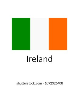 Flag of Ireland with name icon. Official colors and proportion correctly. National Ireland Flag vector. Ireland Flag vector illustration. National Ireland Flag vector on white background