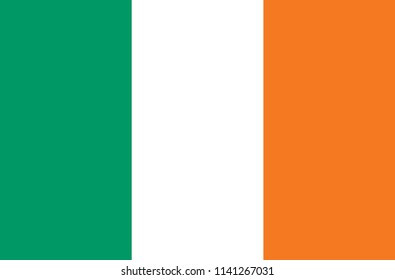 Flag of Ireland. Symbol of Independence Day, souvenir soccer game, button language, icon.