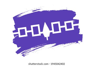 Flag of the Iroquois Confederacy, USA. American Haudenosaunee,  the Five Nations banner brush concept. Horizontal vector Illustration isolated on white background.