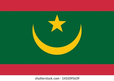 Flag of Islamic Republic of Mauritania, is a country in Northwest Africa. Vector illustration