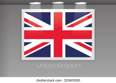 A Flag Isolated on Gallery Wall of United Kingdom