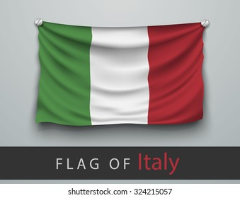 FLAG OF italy battered, hung on the wall, screwed screws