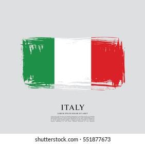 Flag of Italy, brush stroke background