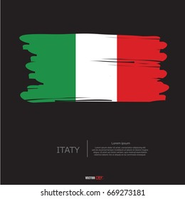 Flag of Italy with  brush stroke background vector
