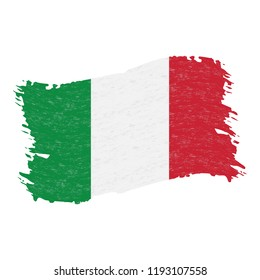 Flag of Italy, Grunge Abstract Brush Stroke Isolated On A White Background. Vector Illustration. National Flag In Grungy Style. Use For Brochures, Printed Materials, Logos, Independence Day