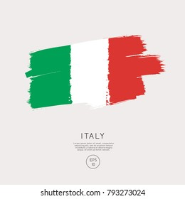 Flag of Italy in Grunge Brush Stroke : Vector Illustration