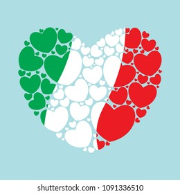 Flag of Italy in a heart shape filled with little hearts. Italian flag. Wavy lines. Vector illustration.
