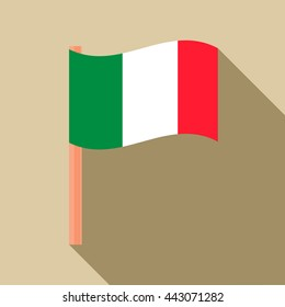 Flag of Italy icon in flat style with long shadow. State symbol