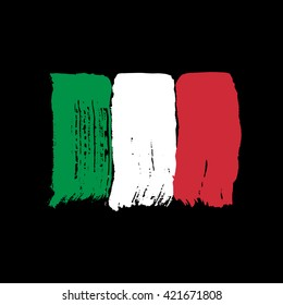 Flag of Italy on a black background