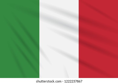 Flag Italy swaying in wind, realistic vector.