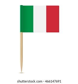 Flag Italy. Toothpick Italian flag . Isolated on white background 10eps