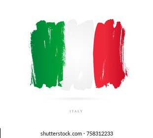 Flag of Italy. Vector illustration on white background. Beautiful brush strokes. Abstract concept. Elements for design.