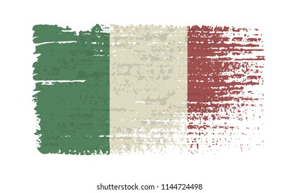 Flag of Italy. Vintage Italy flag grunge style. Isolated vector illustration on white background.
