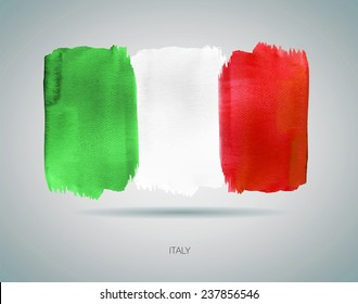 Flag of Italy watercolor illustration. Vector