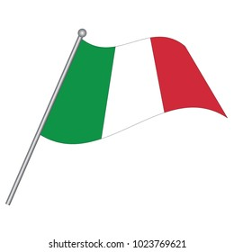 Flag of Italy , Italy flag waving isolated vector illustration, vector 3d waving italy flag on pole - national symbol of Italy with inclined metal stick.