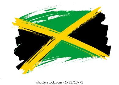 Flag of the Jamaica. Jamaica banner brush style. Horizontal vector Illustration isolated on white background.