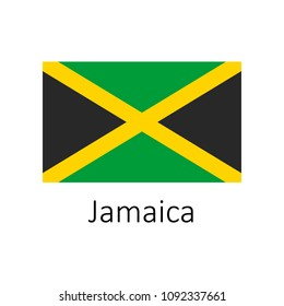 Flag of Jamaica with name icon. Official colors and proportion correctly. National Jamaica Flag vector. Jamaica Flag vector illustration. National Jamaica Flag vector
