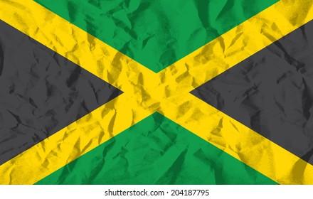 Flag of Jamaica on wrinkled paper vector illustration.
