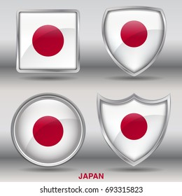 Flag of Japan in 4 shapes Collection with clipping path