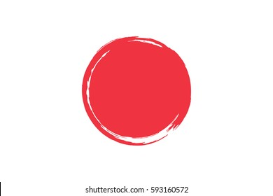 Flag of Japan with grunge effect. Japanese flag painted with ink. Red sun. Vector illustration