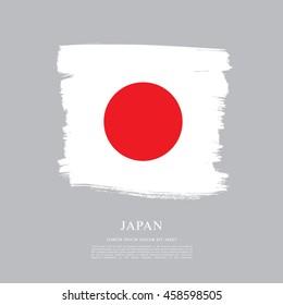 Flag of Japan made in brush stroke background
