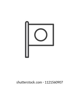 Flag of Japan outline icon. linear style sign for mobile concept and web design. Japanese flag simple line vector icon. Symbol, logo illustration. Pixel perfect vector graphics