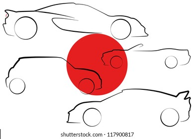The flag of Japan with the outlines of many cars of different types