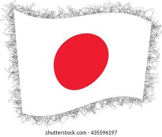 Flag of Japan. Vector illustration of a stylized flag. Shaggy edge.