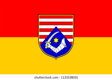 Flag of Karlovac County is a county in central Croatia, with the administrative center in Karlovac. Vector illustration