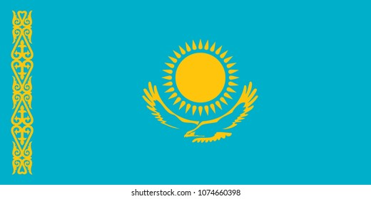 Flag of Kazakhstan official colors and proportions, vector image.