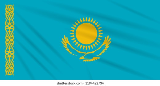 Flag Kazakhstan swaying in the wind, realistic vector.