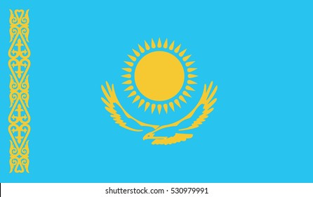 flag of kazakhstan vector icon illustration eps10
