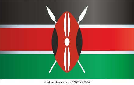 Flag of Kenya, Republic of Kenya. Bright, colorful vector illustration.