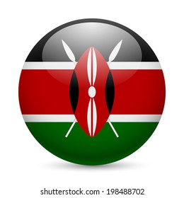 Flag of Kenya as round glossy icon. Button with Kenyan flag
