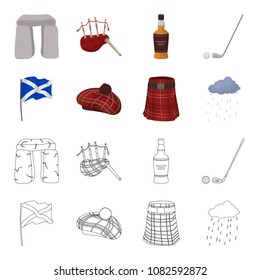Flag, kilt, rainy weather, cap.Scotland country set collection icons in cartoon,outline style vector symbol stock illustration web.