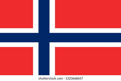 Flag of Kingdom of Norway, is a sovereign and unitary monarchy of the Scandinavian Peninsula. Vector illustration