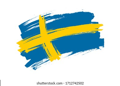 Flag of the Kingdom of Sweden. Sweden banner brush concept. Horizontal vector Illustration isolated on white background.