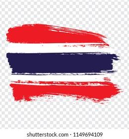 Flag Kingdom of Thailand, brush stroke background.  Flag Thailand on transparent background. Stock vector. Vector illustration EPS10.