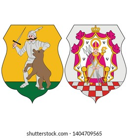 Flag of Komarom-Esztergom is an administrative Hungarian county in Central Transdanubia Region. Vector illustration